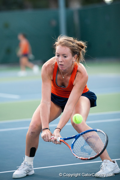Florida junior Lauren Embree chases a drop during the Gators' 7-0 win against the FSU Seminoles on Wednesday, February 29, 2012 at the Alfred A Ring Tennis Complex in Gainesville, Fla. / Gator Country photo by Saj Guevara