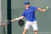 Florida freshman Spencer Newman swings at the ball during the Gators' 4-0 win against the Arkansas Razorbacks in the first round of the SEC tournament on Thursday, April 21, 2011 at Linder Stadium at Ring Tennis Complex in Gainesville, Fla. / Gator Country photo by Tim Casey