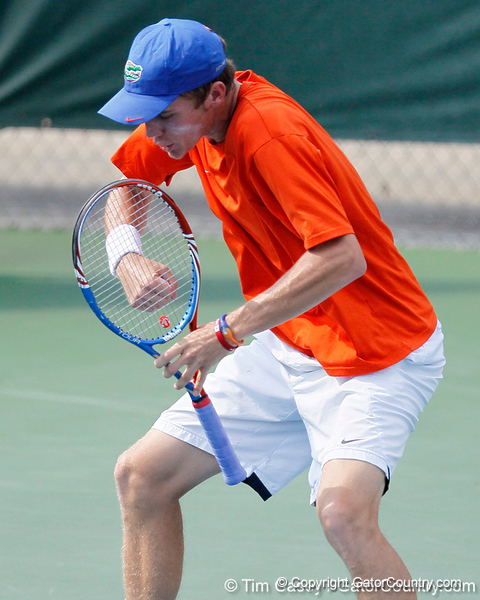Florida sophomore Bob van Overbeek celebrates after a point during the Gators' 4-0 win against the Arkansas Razorbacks in the first round of the SEC tournament on Thursday, April 21, 2011 at Linder Stadium at Ring Tennis Complex in Gainesville, Fla. / Gator Country photo by Tim Casey