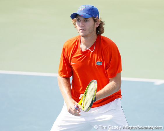 Florida freshman Andrew Butz competes in doubles play during the Gators' 4-0 win against the Arkansas Razorbacks in the first round of the SEC tournament on Thursday, April 21, 2011 at Linder Stadium at Ring Tennis Complex in Gainesville, Fla. / Gator Country photo by Tim Casey