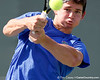 Florida sophomore Billy Federhofer returns a volley during the Gators' 4-0 win against the Arkansas Razorbacks in the first round of the SEC tournament on Thursday, April 21, 2011 at Linder Stadium at Ring Tennis Complex in Gainesville, Fla. / Gator Country photo by Tim Casey