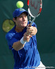 Florida freshman Spencer Newman returns the ball during the Gators' 4-0 win against the Arkansas Razorbacks in the first round of the SEC tournament on Thursday, April 21, 2011 at Linder Stadium at Ring Tennis Complex in Gainesville, Fla. / Gator Country photo by Tim Casey