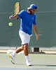 Florida junior Nassim Slilam watches the ball during the Gators' 4-0 win against the Arkansas Razorbacks in the first round of the SEC tournament on Thursday, April 21, 2011 at Linder Stadium at Ring Tennis Complex in Gainesville, Fla. / Gator Country photo by Tim Casey