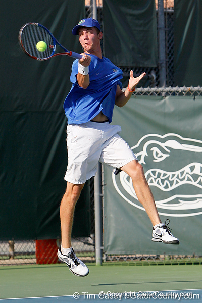 Florida sophomore Bob van Overbeek returns a volley during the Gators' 4-0 win against the Arkansas Razorbacks in the first round of the SEC tournament on Thursday, April 21, 2011 at Linder Stadium at Ring Tennis Complex in Gainesville, Fla. / Gator Country photo by Tim Casey
