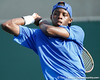Florida sophomore Sekou Bangoura, Jr. follows through on a swing during the Gators' 4-0 win against the Arkansas Razorbacks in the first round of the SEC tournament on Thursday, April 21, 2011 at Linder Stadium at Ring Tennis Complex in Gainesville, Fla. / Gator Country photo by Tim Casey