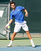 Florida senior Alexandre Lacroix swings at the ball during the Gators' 4-0 win against the Arkansas Razorbacks in the first round of the SEC tournament on Thursday, April 21, 2011 at Linder Stadium at Ring Tennis Complex in Gainesville, Fla. / Gator Country photo by Tim Casey