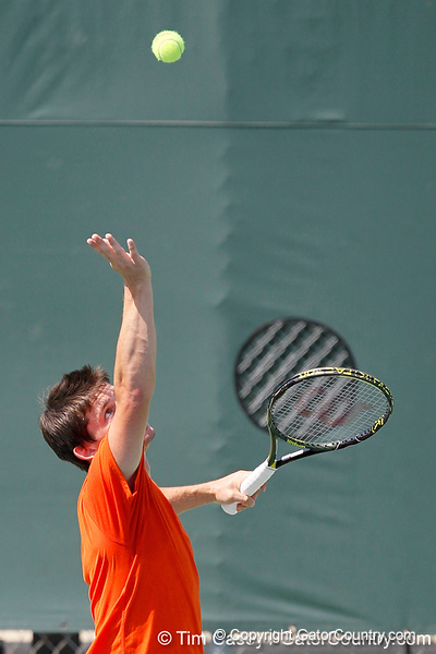 Florida sophomore Billy Federhofer serves during the Gators' 4-0 win against the Arkansas Razorbacks in the first round of the SEC tournament on Thursday, April 21, 2011 at Linder Stadium at Ring Tennis Complex in Gainesville, Fla. / Gator Country photo by Tim Casey