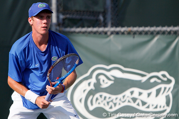 Florida sophomore Bob van Overbeek awaits a serve during the Gators' 4-0 win against the Arkansas Razorbacks in the first round of the SEC tournament on Thursday, April 21, 2011 at Linder Stadium at Ring Tennis Complex in Gainesville, Fla. / Gator Country photo by Tim Casey