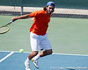 Florida junior Nassim Slilam returns a volley during the Gators' 4-0 win against the Arkansas Razorbacks in the first round of the SEC tournament on Thursday, April 21, 2011 at Linder Stadium at Ring Tennis Complex in Gainesville, Fla. / Gator Country photo by Tim Casey