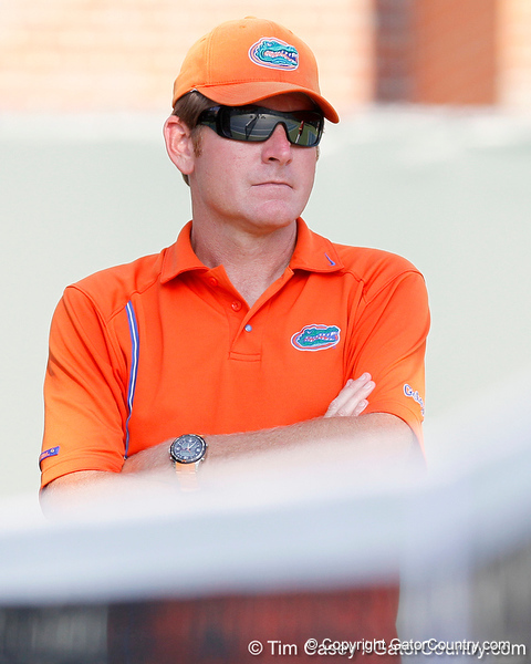 Florida men's tennis head coach Andy Jackson looks on during the Gators' 4-0 win against the Arkansas Razorbacks in the first round of the SEC tournament on Thursday, April 21, 2011 at Linder Stadium at Ring Tennis Complex in Gainesville, Fla. / Gator Country photo by Tim Casey