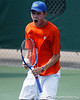 Florida sophomore Bob van Overbeek reacts after winning a doubles point during the Gators' 4-0 win against Arkansas in the first round of the SEC tournament on Thursday, April 21, 2011 at Linder Stadium at Ring Tennis Complex in Gainesville, Fla. / Gator Country photo by Tim Casey