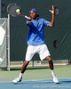 Florida sophomore Sekou Bangoura, Jr. returns a volley during the Gators' 4-0 win against the Arkansas Razorbacks in the first round of the SEC tournament on Thursday, April 21, 2011 at Linder Stadium at Ring Tennis Complex in Gainesville, Fla. / Gator Country photo by Tim Casey