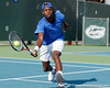 Florida sophomore Sekou Bangoura, Jr. reaches for a ball during the Gators' 4-0 win against the Arkansas Razorbacks in the first round of the SEC tournament on Thursday, April 21, 2011 at Linder Stadium at Ring Tennis Complex in Gainesville, Fla. / Gator Country photo by Tim Casey