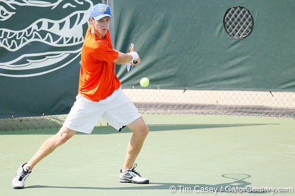 Florida sophomore Bob van Overbeek prepares to swing during the Gators' 4-0 win against the Arkansas Razorbacks in the first round of the SEC tournament on Thursday, April 21, 2011 at Linder Stadium at Ring Tennis Complex in Gainesville, Fla. / Gator Country photo by Tim Casey