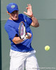 Florida freshman Spencer Newman prepares to return the ball during the Gators' 4-0 win against the Arkansas Razorbacks in the first round of the SEC tournament on Thursday, April 21, 2011 at Linder Stadium at Ring Tennis Complex in Gainesville, Fla. / Gator Country photo by Tim Casey
