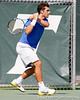 Florida senior Alexandre Lacroix follows through on a swing during the Gators' 4-0 win against the Arkansas Razorbacks in the first round of the SEC tournament on Thursday, April 21, 2011 at Linder Stadium at Ring Tennis Complex in Gainesville, Fla. / Gator Country photo by Tim Casey
