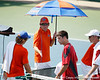 Florida men's tennis head coach Andy Jackson talks with freshman Andrew Butz during the Gators' 4-0 win against the Arkansas Razorbacks in the first round of the SEC tournament on Thursday, April 21, 2011 at Linder Stadium at Ring Tennis Complex in Gainesville, Fla. / Gator Country photo by Tim Casey
