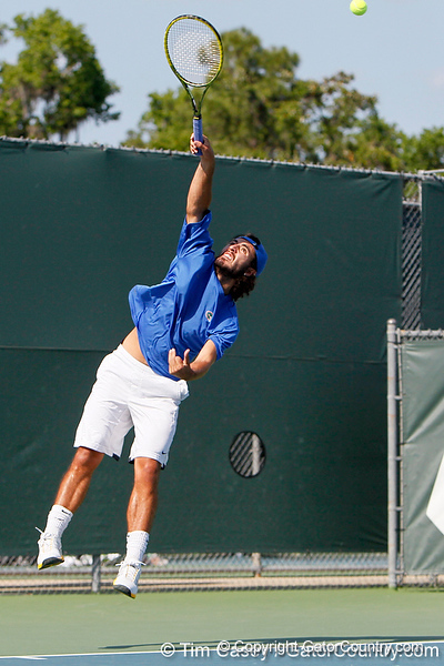 Florida junior Nassim Slilam serves during the Gators' 4-0 win against the Arkansas Razorbacks in the first round of the SEC tournament on Thursday, April 21, 2011 at Linder Stadium at Ring Tennis Complex in Gainesville, Fla. / Gator Country photo by Tim Casey
