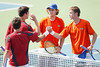 Florida freshman Andrew Butz and sophomore Bob van Overbeek shake hands after winning a doubles match during the Gators' 4-0 win against the Arkansas Razorbacks in the first round of the SEC tournament on Thursday, April 21, 2011 at Linder Stadium at Ring Tennis Complex in Gainesville, Fla. / Gator Country photo by Tim Casey