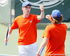 Florida sophomore Bob van Overbeek celebrates with freshman Andrew Butz during the Gators' 4-0 win against the Arkansas Razorbacks in the first round of the SEC tournament on Thursday, April 21, 2011 at Linder Stadium at Ring Tennis Complex in Gainesville, Fla. / Gator Country photo by Tim Casey