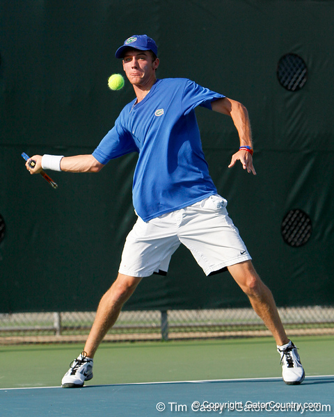 Florida sophomore Bob van Overbeek attacks the ball during the Gators' 4-0 win against the Arkansas Razorbacks in the first round of the SEC tournament on Thursday, April 21, 2011 at Linder Stadium at Ring Tennis Complex in Gainesville, Fla. / Gator Country photo by Tim Casey