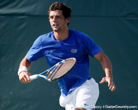 Florida senior Alexandre Lacroix gets in position during the Gators' 4-0 win against the Arkansas Razorbacks in the first round of the SEC tournament on Thursday, April 21, 2011 at Linder Stadium at Ring Tennis Complex in Gainesville, Fla. / Gator Country photo by Tim Casey