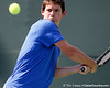 Florida sophomore Billy Federhofer eyes the ball during the Gators' 4-0 win against the Arkansas Razorbacks in the first round of the SEC tournament on Thursday, April 21, 2011 at Linder Stadium at Ring Tennis Complex in Gainesville, Fla. / Gator Country photo by Tim Casey
