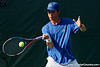 Florida sophomore Bob van Overbeek returns the ball during the Gators' 4-0 win against the Arkansas Razorbacks in the first round of the SEC tournament on Thursday, April 21, 2011 at Linder Stadium at Ring Tennis Complex in Gainesville, Fla. / Gator Country photo by Tim Casey