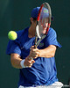 Florida freshman Spencer Newman focuses on the ball during the Gators' 4-0 win against the Arkansas Razorbacks in the first round of the SEC tournament on Thursday, April 21, 2011 at Linder Stadium at Ring Tennis Complex in Gainesville, Fla. / Gator Country photo by Tim Casey