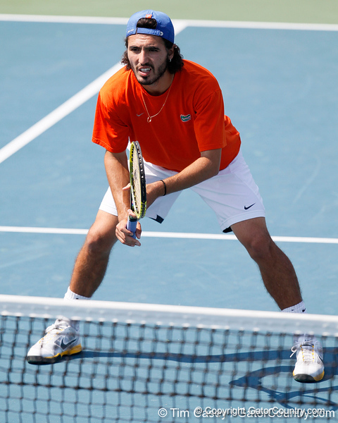 Florida junior Nassim Slilam awaits a serve during the Gators' 4-0 win against the Arkansas Razorbacks in the first round of the SEC tournament on Thursday, April 21, 2011 at Linder Stadium at Ring Tennis Complex in Gainesville, Fla. / Gator Country photo by Tim Casey