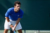 Florida senior Alexandre Lacroix awaits a serve during the Gators' 4-0 win against the Arkansas Razorbacks in the first round of the SEC tournament on Thursday, April 21, 2011 at Linder Stadium at Ring Tennis Complex in Gainesville, Fla. / Gator Country photo by Tim Casey