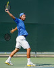 Florida junior Nassim Slilam follows through on a swing during the Gators' 4-0 win against the Arkansas Razorbacks in the first round of the SEC tournament on Thursday, April 21, 2011 at Linder Stadium at Ring Tennis Complex in Gainesville, Fla. / Gator Country photo by Tim Casey