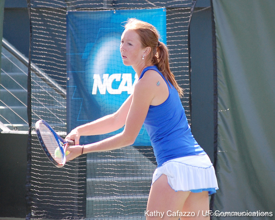 Florida sophomore Lauren Embree serves during doubles play during the Gators' 4-3 win against top-seeded Stanford to win the 2011 NCAA Championship on Tuesday at Taube Tennis Stadium on the campus of Stanford University in Palo Alto, Calif. / UF Communications photo by Kathy Cafazzo