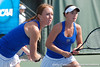 Florida sophomore Lauren Embree and freshman Sofie Oyen compete in doubles play during the Gators' 4-3 win against top-seeded Stanford to win the 2011 NCAA Championship on Tuesday at Taube Tennis Stadium on the campus of Stanford University in Palo Alto, Calif. / UF Communications photo by Kathy Cafazzo