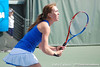 Florida sophomore Lauren Embree eyes the ball during the Gators' 4-3 win against top-seeded Stanford to win the 2011 NCAA Championship on Tuesday at Taube Tennis Stadium on the campus of Stanford University in Palo Alto, Calif. / UF Communications photo by Kathy Cafazzo