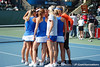 Florida players huddle during the Gators' 4-3 win against top-seeded Stanford to win the 2011 NCAA Championship on Tuesday at Taube Tennis Stadium on the campus of Stanford University in Palo Alto, Calif. / UF Communications photo by Kathy Cafazzo