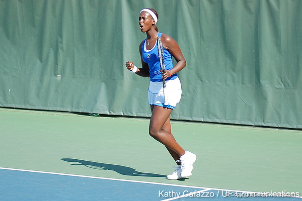 Florida sophomore Caroline Hitimana reacts after winning a doubles point during the Gators' 4-3 win against top-seeded Stanford to win the 2011 NCAA Championship on Tuesday at Taube Tennis Stadium on the campus of Stanford University in Palo Alto, Calif. / UF Communications photo by Kathy Cafazzo