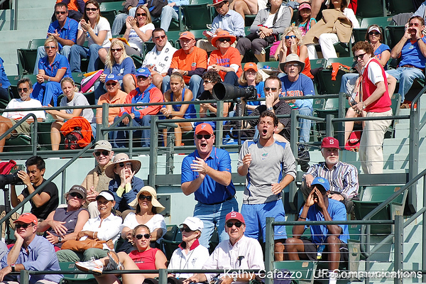 Florida fans cheer during the Gators' 4-3 win against top-seeded Stanford to win the 2011 NCAA Championship on Tuesday at Taube Tennis Stadium on the campus of Stanford University in Palo Alto, Calif. / UF Communications photo by Kathy Cafazzo