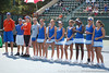 Florida players line up before the Gators' 4-3 win against top-seeded Stanford to win the 2011 NCAA Championship on Tuesday at Taube Tennis Stadium on the campus of Stanford University in Palo Alto, Calif. / UF Communications photo by Kathy Cafazzo