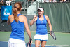 Florida sophomore Lauren Embree and freshman Sofie Oyen celebrate after winning a doubles point during the Gators' 4-3 win against top-seeded Stanford to win the 2011 NCAA Championship on Tuesday at Taube Tennis Stadium on the campus of Stanford University in Palo Alto, Calif. / UF Communications photo by Kathy Cafazzo
