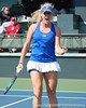 Florida sophomore Allie Will reacts after a doubles point during the Gators' 4-3 win against top-seeded Stanford to win the 2011 NCAA Championship on Tuesday at Taube Tennis Stadium on the campus of Stanford University in Palo Alto, Calif. / UF Communications photo by Kathy Cafazzo