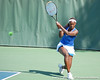 Florida sophomore Caroline Hitimana follows through on a swing during the Gators' 4-3 win against top-seeded Stanford to win the 2011 NCAA Championship on Tuesday at Taube Tennis Stadium on the campus of Stanford University in Palo Alto, Calif. / UF Communications photo by Kathy Cafazzo