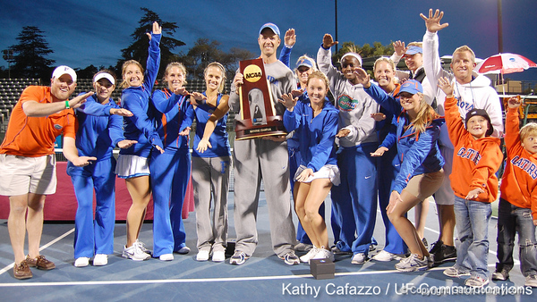 The Florida women's tennis team celebrates after the Gators' 4-3 win against top-seeded Stanford to win the 2011 NCAA Championship on Tuesday at Taube Tennis Stadium on the campus of Stanford University in Palo Alto, Calif. / UF Communications photo by Kathy Cafazzo