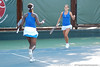 Florida sophomore Caroline Hitimana and junior Joanna Mather celebrate after winning a doubles point during the Gators' 4-3 win against top-seeded Stanford to win the 2011 NCAA Championship on Tuesday at Taube Tennis Stadium on the campus of Stanford University in Palo Alto, Calif. / UF Communications photo by Kathy Cafazzo