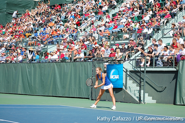 Florida junior Joanna Mather awaits a serve during the Gators' 4-3 win against top-seeded Stanford to win the 2011 NCAA Championship on Tuesday at Taube Tennis Stadium on the campus of Stanford University in Palo Alto, Calif. / UF Communications photo by Kathy Cafazzo
