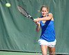 Florida junior Joanna Mather returns a volley during the Gators' 4-3 win against top-seeded Stanford to win the 2011 NCAA Championship on Tuesday at Taube Tennis Stadium on the campus of Stanford University in Palo Alto, Calif. / UF Communications photo by Kathy Cafazzo