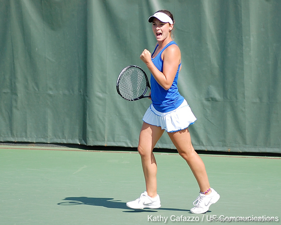 Florida freshman Sofie Oyen reacts after a doubles point during the Gators' 4-3 win against top-seeded Stanford to win the 2011 NCAA Championship on Tuesday at Taube Tennis Stadium on the campus of Stanford University in Palo Alto, Calif. / UF Communications photo by Kathy Cafazzo