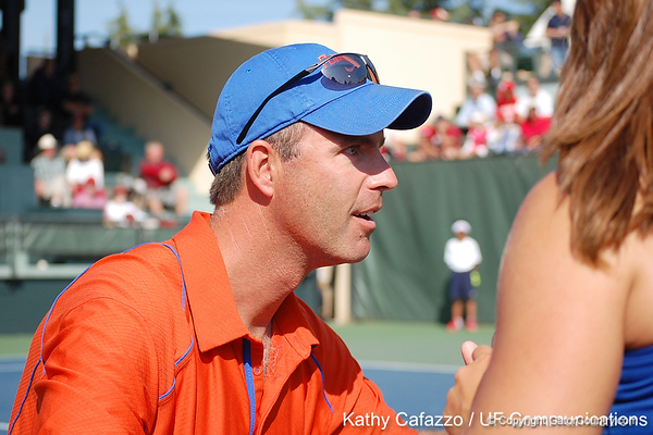 Florida head coach Roland Thornqvist talks with players during the Gators' 4-3 win against top-seeded Stanford to win the 2011 NCAA Championship on Tuesday at Taube Tennis Stadium on the campus of Stanford University in Palo Alto, Calif. / UF Communications photo by Kathy Cafazzo