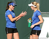 Florida senior Anastasia Revzina and freshman Lauren Embree talk during the Gators' 7-0 win against the South Florida Bulls on Monday, February 8, 2010 at Linder Stadium at Ring Tennis Complex in Gainesville, Fla. / Gator Country photo by Tim Casey