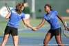 Florida sophomore Joanna Mather and freshman Caroline Hitimana compete during the Gators' 7-0 win against the South Florida Bulls on Monday, February 8, 2010 at Linder Stadium at Ring Tennis Complex in Gainesville, Fla. / Gator Country photo by Tim Casey